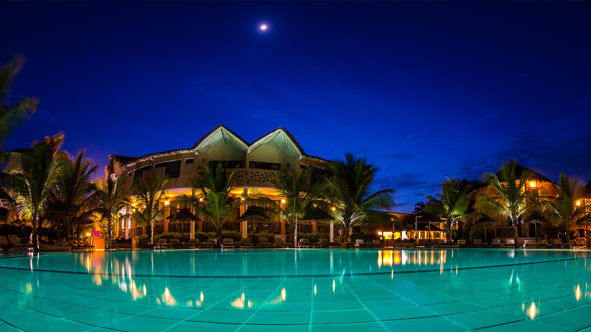 Hotel Senegal Saly Lamantin Beach Resort Piscine Nuit